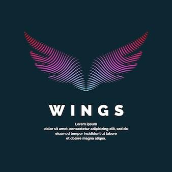 Nowoczesne kolorowe skrzydła z logo. ilustracja wektorowa na ciemnym tle do reklamy