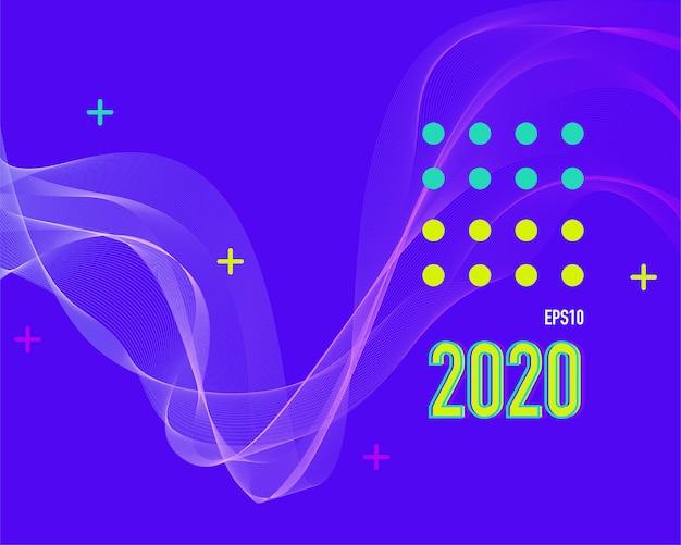 Nowoczesne kolorowe tło linii 2020.