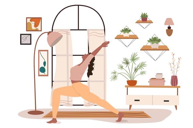 Nowoczesne, komfortowe wnętrze dla koncepcji internetowej jogi. kobieta ćwicząca asanę jogi w pokoju z dużym oknem, wystrojem domu i roślinami