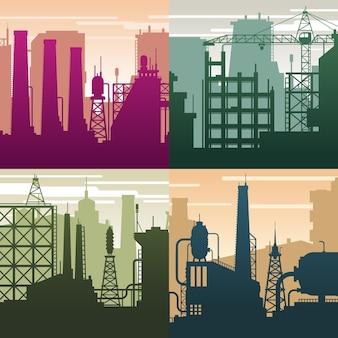 Nowoczesne krajobrazy przemysłowe. sylwetki budynków, przemysł gazowy. środowisko i sytuacja ekologiczna, tło wektor zanieczyszczenia. ilustracja architektury przemysłu, panoramę struktury mocy
