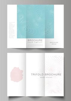 Nowoczesne kreatywne szablony obejmuje potrójne broszury lub ulotki. topograficzna mapa konturowa, streszczenie monochromatyczny