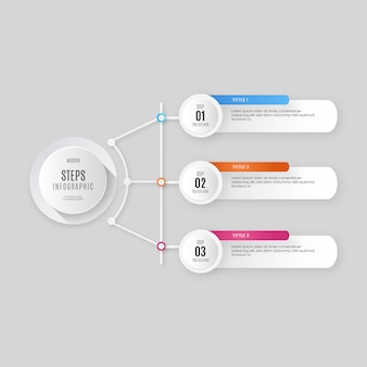 Nowoczesne kroki infografiki biznesowej z profesjonalnym kolorowym wzornictwem