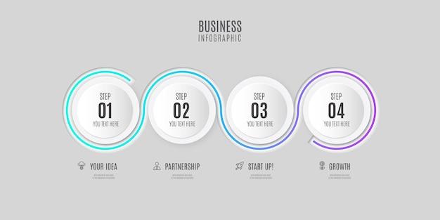 Nowoczesne kroki infografiki z czystym designem