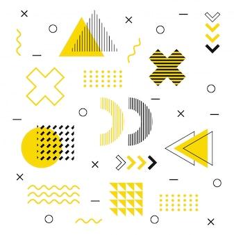 Nowoczesne kształty graficzne w stylu memphis