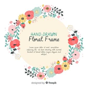 Nowoczesne kwiatowy rama z ręcznie rysowane stylu