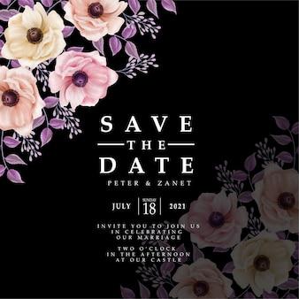 Nowoczesne kwiaty cyfrowe ślubne imprezy karta zaproszenia do edycji szablon