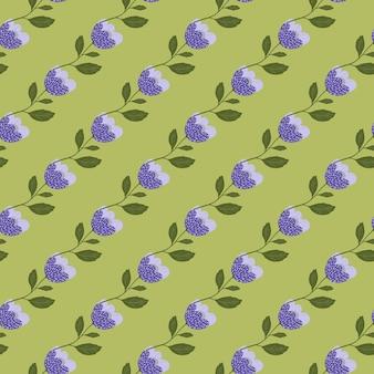 Nowoczesne kwitnące kwiaty wzór na zielonym tle.