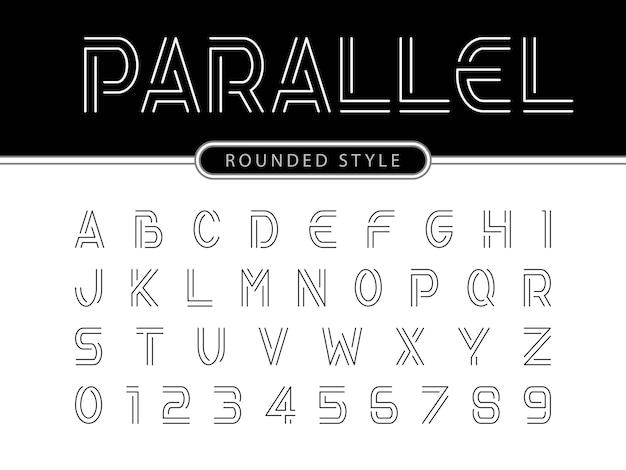 Nowoczesne litery alfabetu, linie równoległe stylizowane zaokrąglone czcionki