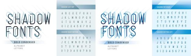 Nowoczesne litery alfabetu zagęszczonego cień i cyfry