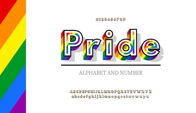 Nowoczesne litery i cyfry w kolorach tęczy. kolory tęczowej flagi czcionka lgbt.