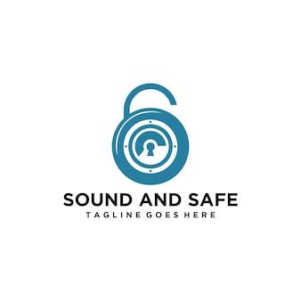 Nowoczesne logo bezpiecznego i dźwiękowego z kłódką i głośnikiem