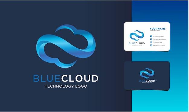 Nowoczesne logo chmury z projektem wizytówki.