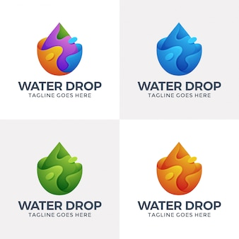 Nowoczesne logo ciekłej wody w stylu 3d.