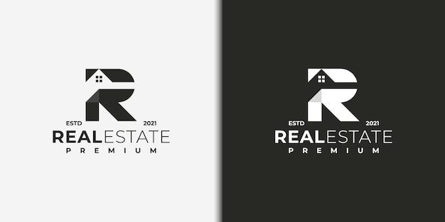 Nowoczesne logo dla nieruchomości z koncepcją litery r