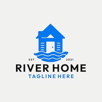 Nowoczesne logo domu rzeki wektor