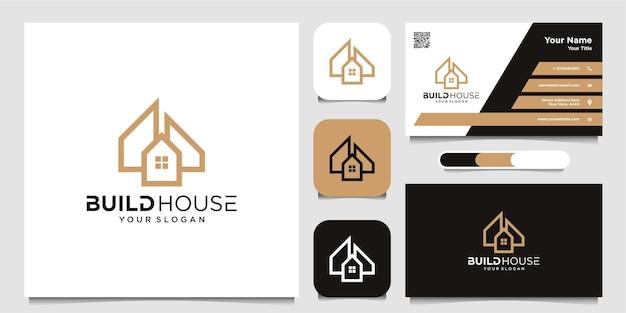 Nowoczesne logo domu w prostym stylu linii z logo i wizytówką