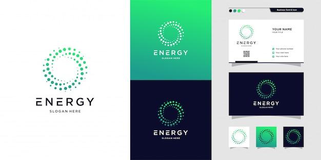 Nowoczesne logo energii i projekt wizytówki. rozwiązanie, pozytywne, nowoczesne, energia, ikona, premium