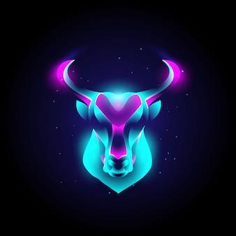 Nowoczesne logo głowy byka zwierzęcego z neonowymi żywymi kolorami, abstrakcją, zodiakiem, astrologią.