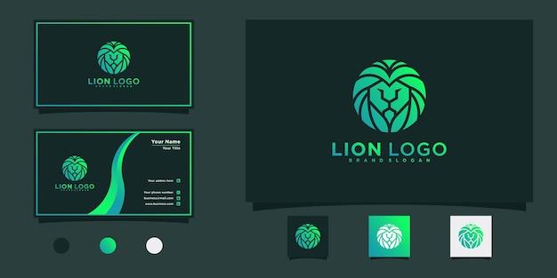Nowoczesne logo głowy lwa z zielonymi gradientami kolor i projekt wizytówki premium vektor