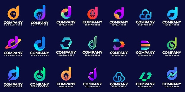 Nowoczesne logo gradientowe litery d inspiracja do projektowania logo