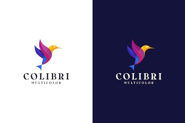 Nowoczesne logo gradientowego ptaka kolorowe abstrakcyjne