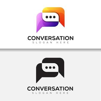 Nowoczesne logo kolorowe rozmowy. logo komunikacji, projektowanie logo czatu dwie wersje