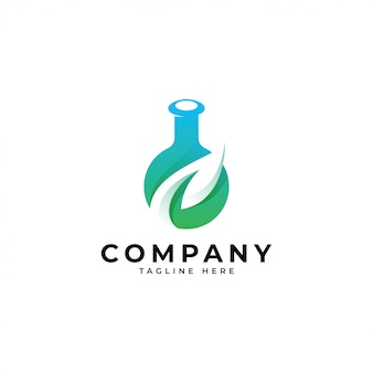 Nowoczesne logo laboratorium liść nauki