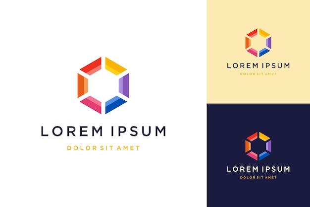 Nowoczesne logo lub kolorowe sześciokąty