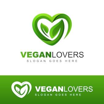 Nowoczesne logo miłośników wegańskich. liście lub liść z miłością, szablon projektu logo natura opieka