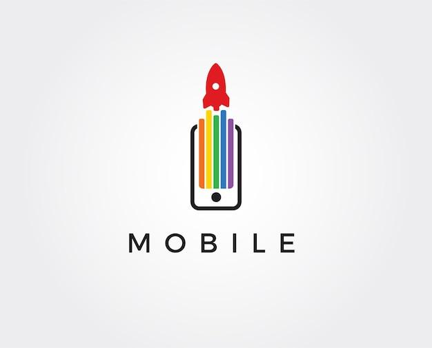 Nowoczesne logo phone booster z symbolem rakiety