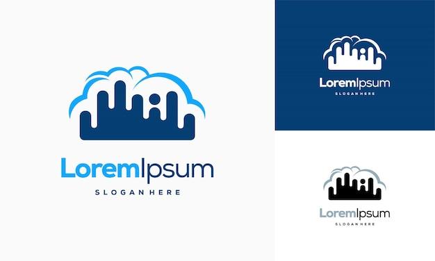 Nowoczesne logo pixel cloud projektuje wektor koncepcyjny, szablon logo cloud tech, szablon ikony symbol logo technologii