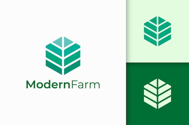 Nowoczesne logo rolnictwa lub rolnictwa w abstrakcyjnym kształcie geometrii