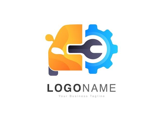 Nowoczesne logo serwisowe napraw samochodowych z wzorem w stylu przekładni i klucza