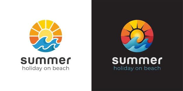 Nowoczesne Logo Surfowania Na Plaży Lub Fali Z Zachodem Słońca Premium Wektorów