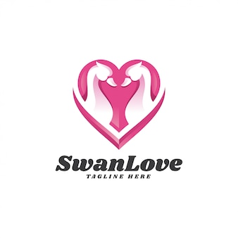 Nowoczesne logo swan goose and heart love