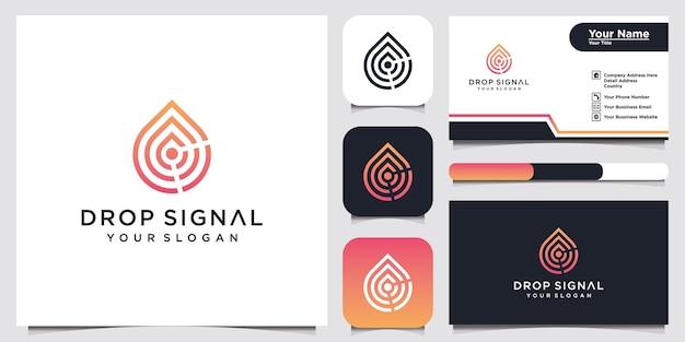 Nowoczesne logo sygnału kropli i projekt wizytówki