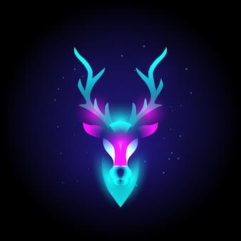 Nowoczesne logo zwierzęcej głowy jelenia w neonowych żywych kolorach, abstrakcyjne.