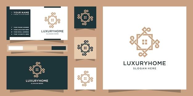 Nowoczesne luksusowe logo domu i wizytówka