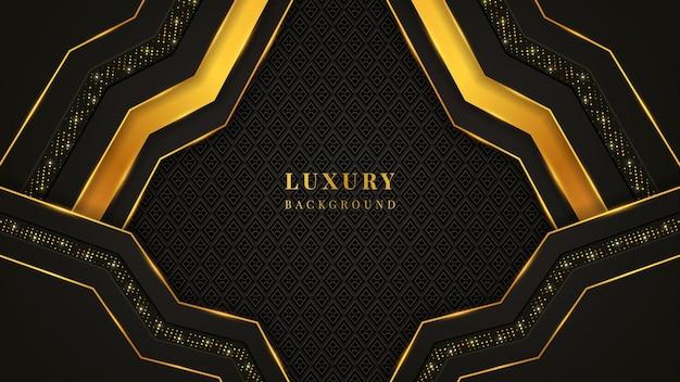 Nowoczesne luksusowe tło z czarnymi i złotymi kształtami, ornamentami i światłami