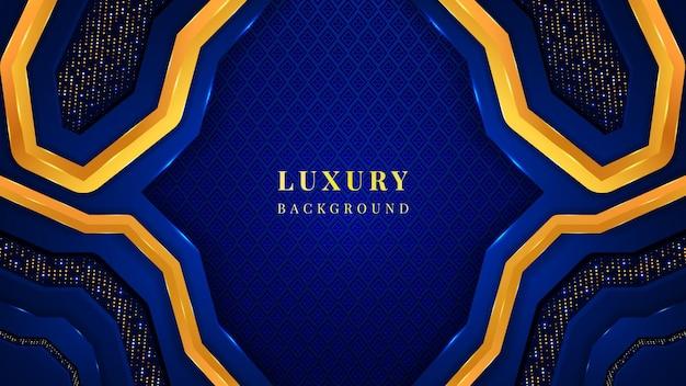 Nowoczesne luksusowe tło z dynamicznymi niebieskimi i złotymi kształtami, ornamentami, błyskotkami i efektem blasku