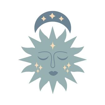 Nowoczesne magiczne słońce boho z księżycem, gwiazdami, twarzą w sylwetkę na białym tle. płaskie ilustracji wektorowych. dekoracyjny niebiański element boho na tatuaż, kartki okolicznościowe, zaproszenia, wesele