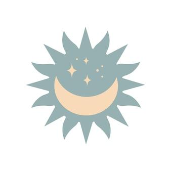 Nowoczesne magiczne słońce boho z księżycem, gwiazdy w sylwetka na białym tle. płaskie ilustracji wektorowych. dekoracyjny niebiański element boho na tatuaż, kartki okolicznościowe, zaproszenia, wesele