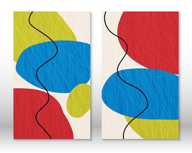 Nowoczesne malarstwo abstrakcyjne. zestaw płynnych teksturowanych kształtów geometrycznych. abstrakcyjne ręcznie rysowane kształty efekt akwareli. projekt wystroju domu. druk sztuki nowoczesnej. współczesny design.