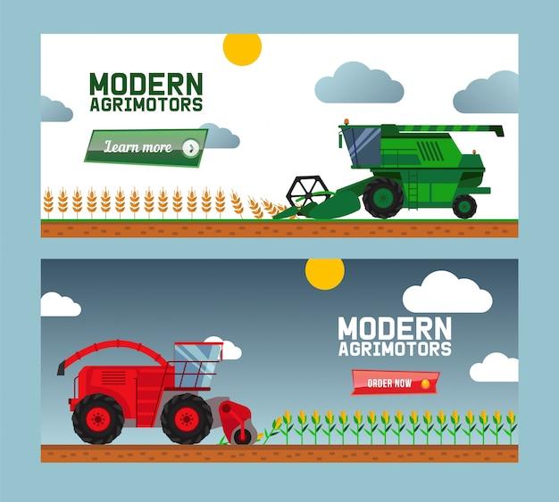 Nowoczesne maszyny rolnicze zbiorów zbiorów, kombajny, ciężarówki, płaskie ilustracja. biznes internetowy, zamów teraz, kup maszynę rolnika.