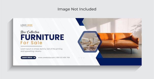 Nowoczesne meble wyprzedażowe okładka na facebooku i projekt banera internetowego premium vector