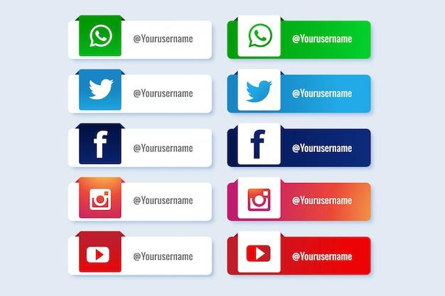 Nowoczesne media społecznościowe niższa trzecia kolekcja banerów