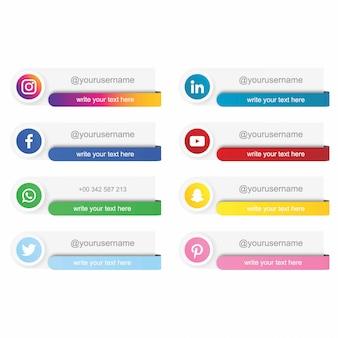 Nowoczesne media społecznościowe niższa trzecia kolekcja. wektor