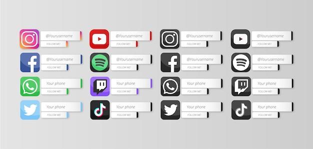 Nowoczesne media społecznościowe niższe trzecie, idealne do animacji