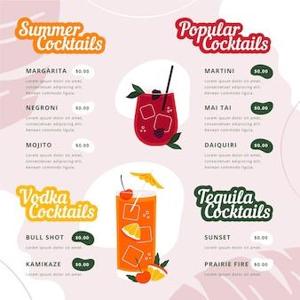 Nowoczesne menu koktajlowe z ilustracjami