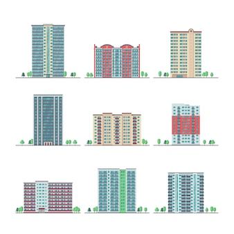 Nowoczesne miasto budynków mieszkalnych płaski wektor zestaw. mieszkanie wieżowiec budynku, ilustracja miejski dom mieszkalny